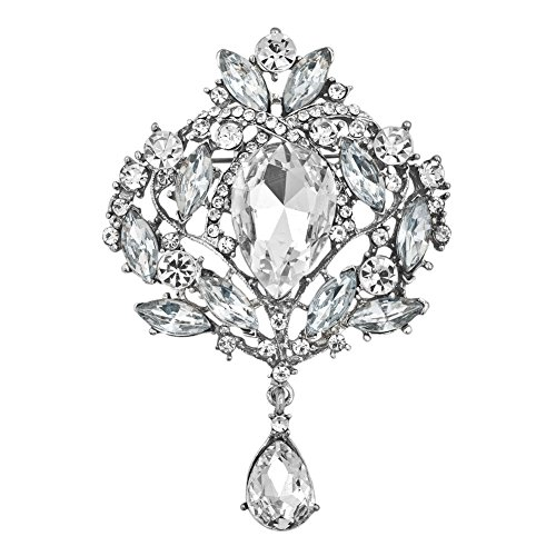 JewelryHouse Vintage White Gorgeous Austrian Crystal Rhinestone Wedding Brooch Pin (Crystal Brooch compare prices)