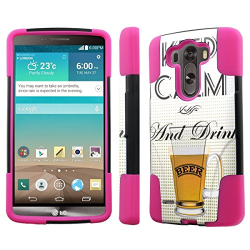 [Nakedshield] Lg G3 [Keep Calm And Drink Beer] Armor Tough Shock Proof Kickstand Black/Hot Pink Phone Case