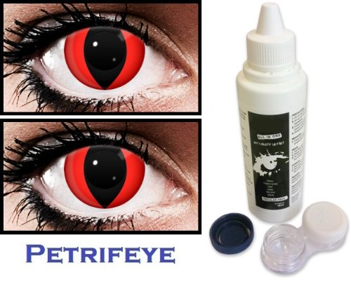 Fancy Dress Red Cat Eye Non Prescription (2 lenses in pack) Fashion Halloween Contact Lenses By Petrifeye Eyes With Free 120ml Solution And Blue/White Soaking Case