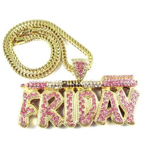 NICKI MINAJ BARBIE Pink Friday Pendant Chain Gold Pink