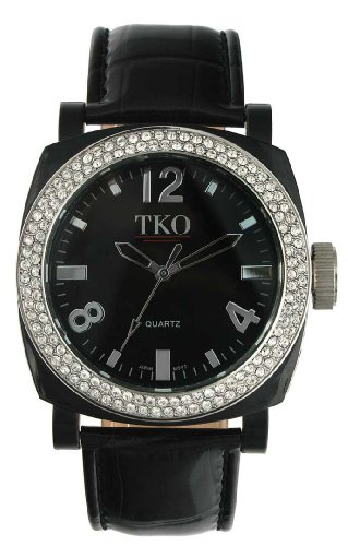 TKO ORLOGI Women's TK550-BK Milano Ice Swarovski Crystal Accented Black Plastic Case and Leather Strap Watch