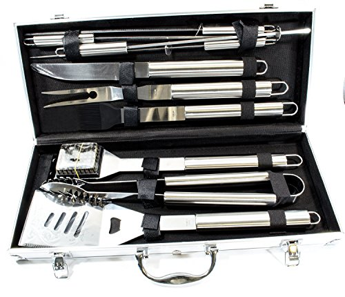 Grill Heat Aid Stainless Steel Grilling Accessories Set Complete Tool Kit with Scraper, Brush, Meat Knife, Skewers & More the Outdoor BBQ Master's Choice, 10 Piece (Grill Accessories compare prices)