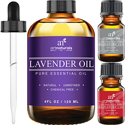 Art Naturals® Lavender Essential Oil 4 oz 3pc Set - Includes Our Aromatherapy Signature Zen Blend 10ml + Travel Size Lavender Oil 10ml - Therapeutic Grade 100% Pure & Natural From Bulgaria (4 oz) (Now Aroma Therapy Difuser compare prices)