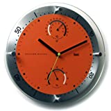 Bai Timemaster Brushed Aluminum Weather Station Wall Clock, Orange