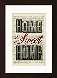 Home Sweet Home Print Typography Mounted / Matted Ready To Frame Dictionary Art Print