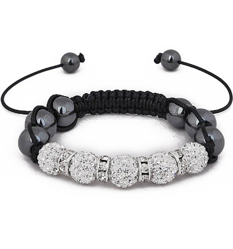12 Month guarantee Shamballa friendship bracelet Genuine Hematite stone beads & clear crystal stone bead disco balls with clear stone spacers excellent quality for a fraction of the price of celebrity bracelets