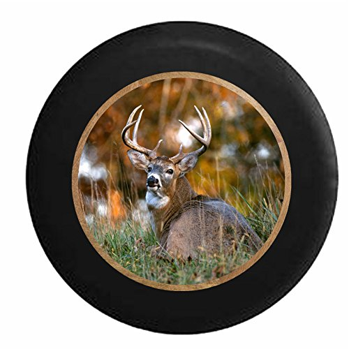 Full Color Big Buck Laying in the Woods Peacefully Wildlife Jeep RV Camper Spare Tire Cover Black 33 in (Jeep Wrangler Safari Tire Cover compare prices)