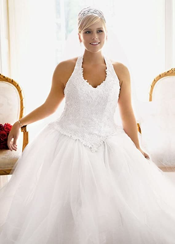 SAMPLE Tulle Ball Gown with Satin Beaded Halter Bodice Style AI13010236