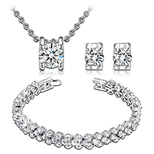 Qianse AAA Zircons Pendant Necklace Stud Earrings Tennins Bracelet Bridal Jewelry Set for women