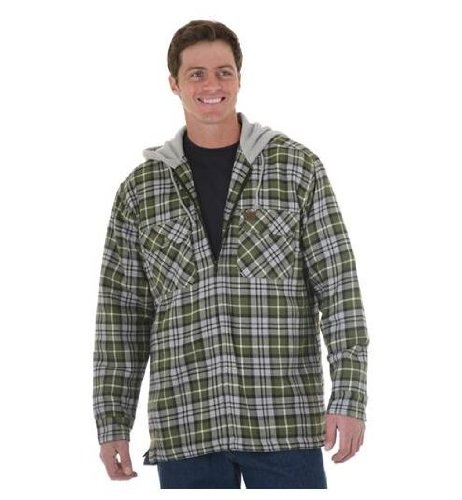 Hooded Flannel Shirt (Medium, Green Plaid) (Riggs Hooded Flannel Jacket compare prices)
