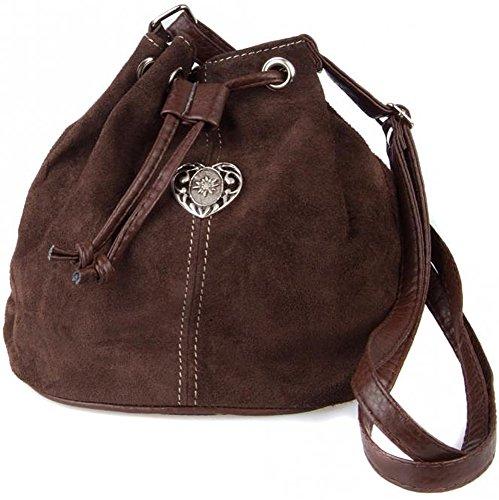 Dirndltasche-Trachtentasche-Wildleder-Beuteltasche-mit-Edelwei-Herz-Dunkelbraun