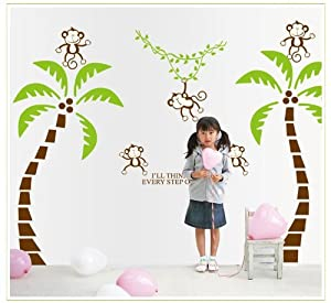 OneHouse Two Coconut Tree and Five Monkeys Kid's Room Wall Decor Stickers by OneHouse