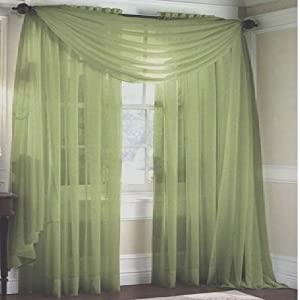 Monagifts Sage Green Scarf Voile Window Panel Solid Sheer Valance Curtains 216 Long