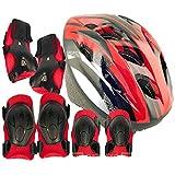 【対象 6~18才】 子供 ジュニア 用 自転車 スポーツ ヘルメット & プロテクター 7点 セット サイズ調整アジャスター付き (赤)