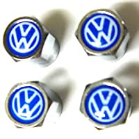 Set of 4 VW Volkswagen Blue Logo Chrome Tire Valve Stem Caps (Made of Metal)