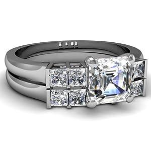 4.45 Ct Exemplary Bar Set Asscher Cut Diamond Engagement Wedding Rings Set GIA 14K White Gold Ring Size-10