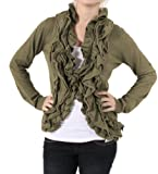 51uQoous8gL. SL160  Romeo &amp; Juliet Couture Ruffled Jacket in Olive