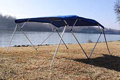 """New Royal Blue Vortex Pontoon / Deck Boat 4 Bow Bimini Top 10' Long, 91-96"""" Wide, 54"""" High, Complete Kit, Frame, Canopy, and Hardware (FAST SHIPPING - 1 TO 4 BUSINESS DAY DELIVERY)"""