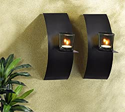 TiedRibbons® Christmas Home Decor wall Sconce / T light holder Pack of 2(Black, Metal)