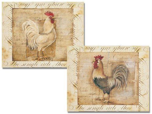 WallsThatSpeak 2 Rustic Rooster Country Kitchen Art Prints Home Decor