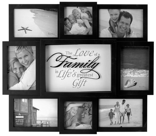 Malden International Designs The Love of a Family Dimensional Collage Black Picture Frame, 8 Option, 6-4x6 & 2-4x4, Black (Family Pictures compare prices)