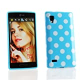 Kit Me Out UK TPU Gel Case for LG Optimus L9 P760 - Blue / White Polka Dots