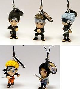 """Naruto 2"""" Shipuden Swing Series 2 Keychain - Naruto, Sasuke, Kakashi, Yamato, and Sai"""