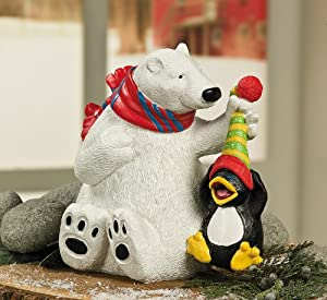 Polar bear figurine decoration holiday for Bear decorations for home