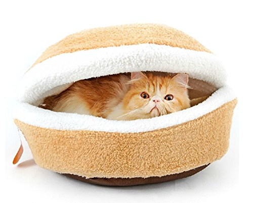 Hoopet® Hamburger/ Burger Design Pet House Shell Shaped Washable Pet Bed Thicker Soft Warm Dog House Cotton Cat Sleeping Bag with Waterproof Bottom (Size S)