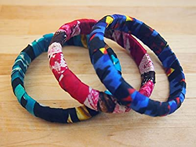 African Cloth Wrapped Bangles, Set of 3 Made in Kenya from kitenge African fabric