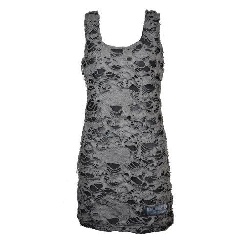 Shred Poizen Industries-Gilet da donna stile Punk gotico con ragazza Emo nero/grigio Large