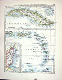 Johnston Antique Map 1898 Cuba British Honduras Puerto Rica Quebec Canada