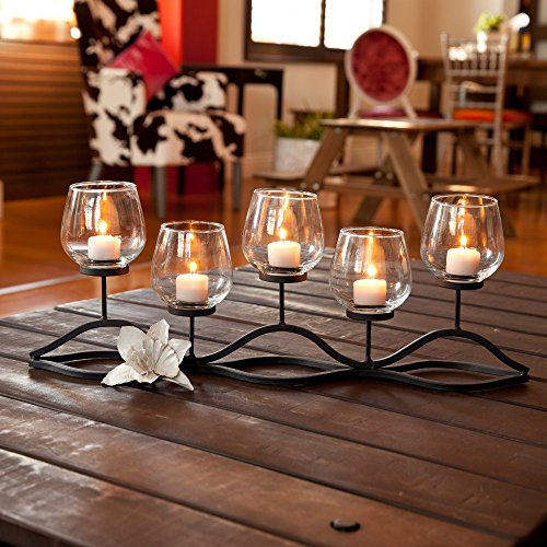 Danya B. Wavy Iron and Glass Hurricane Candleholder (Iron Glass compare prices)