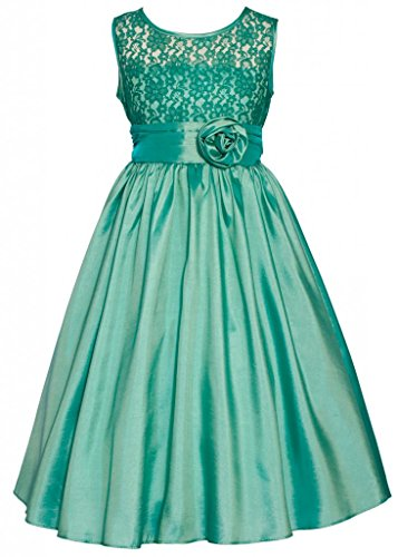 Wonder Girl Kate Big Girls' Lace Taffeta Tea Length Long Dress 8 Jade front-779997