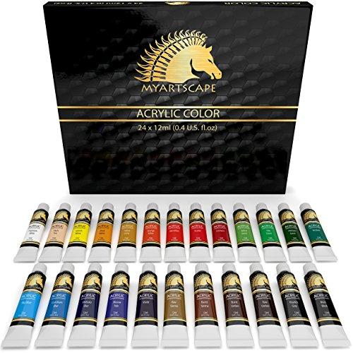 Acrylic Paint Set - 24 x 12ml - Art Paints - Artist Quality - MyArtscape (Golden Neon Paint compare prices)
