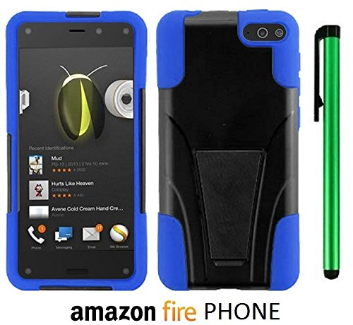 Amazon Fire Phone Premium Design Hybrid T-Stand, Flex Skin And Polycarbonate Hard Cover With Kickstand (Us Carrier: At&T; Released In July 2014) + 1 Of New Assorted Color Metal Stylus Touch Screen Pen (Blue / Black) front-1013186