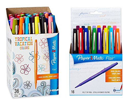 paper-mate-flair-felt-tip-pens-medium-point-limited-edition-tropical-assorted-colors-52-pack