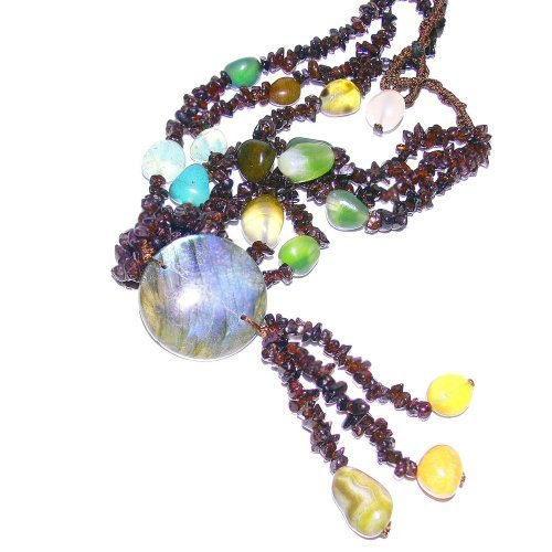 Franki Baker Garnet & Multistone Multi-strand Necklace with Labradorite Pendant (16.5)