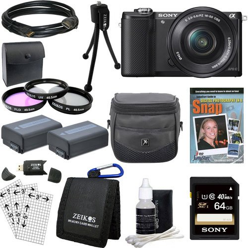Sony Alpha a5000 ILCE-5000L/B ILCE5000LB ILCE5000 20.1 MP SLR Camera(Black) Bundle with...