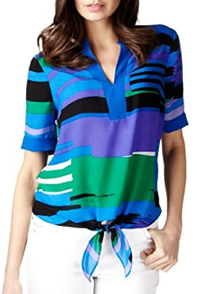 Per Una Front Knot Striped Blouse [T62-2915I-S]