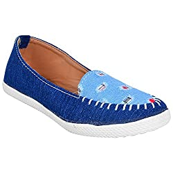 Footrendz Womens Ethnic Blue Denim Synthetic Leather Loafers (38 EU)