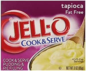 Jell-O Cook & Serve Fat Free Tapioca Pudding, 3-Ounce Boxes (Pack of 24)