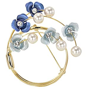 Crescent Crystal Flower Venetian Pearl Brooch Pin - Blue