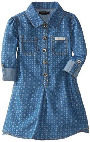 Calvin Klein Little Girls' Printed Dress, Chambray, 3T