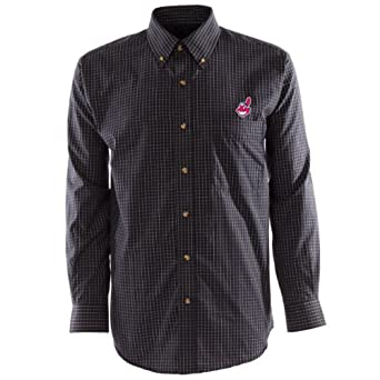 MLB Mens Cleveland Indians Esteem Long Sleeve Woven Shirt by Antigua