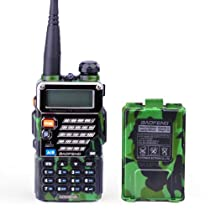 BaoFeng UV-5RB Dual-Band 136-174/400-480 MHz FM Ham Two-Way Radio + Replacement Battery (Army Green)