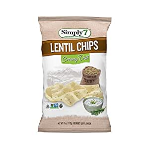 Simply 7 Lentil Chips, Creamy Dill, 4-Ounce Bags (Pack of 12)