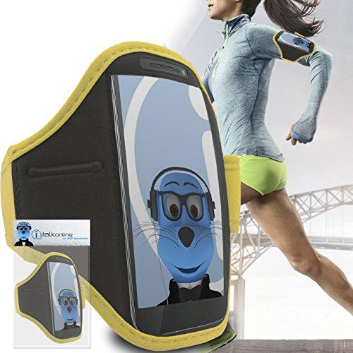 iTALKonline ZTE Avid 4G Giallo Nero regolabile acqua / resistente all'umidità Sports GYM Jogging Correre copertura della cassa della fascia di braccio del bracciale con soldi chiave cuffia tasca