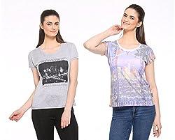 Cashewnut Women Printed Pack of 2 Tops-XXL