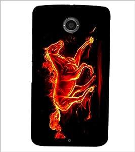 PrintDhaba Horse on Fire D-1189 Back Case Cover for MOTOROLA GOOGLE NEXUS 6 (Multi-Coloured)